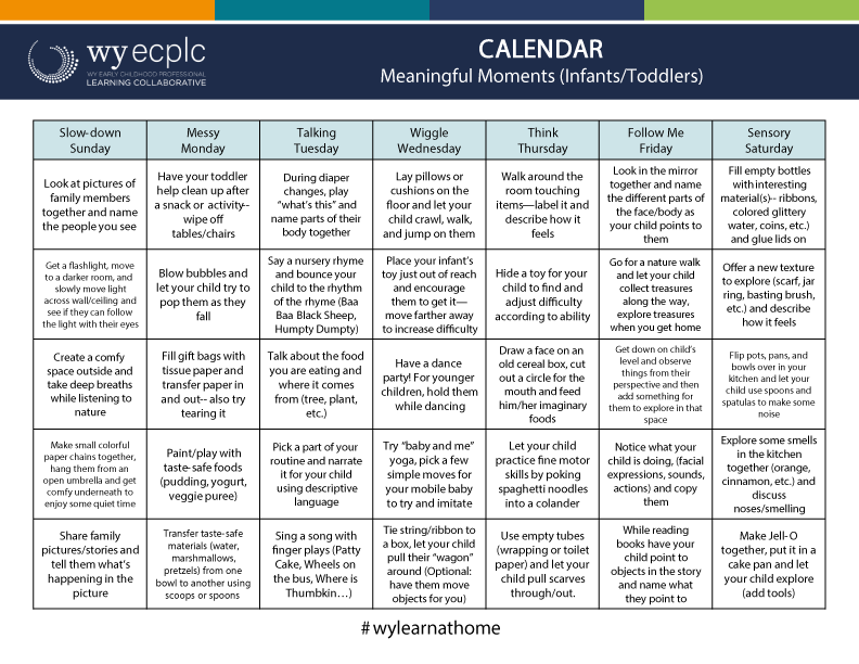 Image of the Infant and Toddler Activity Calendar